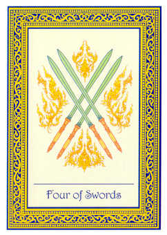 Four of Spades Tarot Card - Royal Thai Tarot Deck