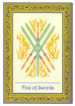 Five of Wind Tarot Card - Royal Thai Tarot Deck