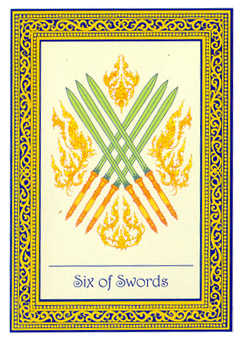 Six of Arrows Tarot Card - Royal Thai Tarot Deck