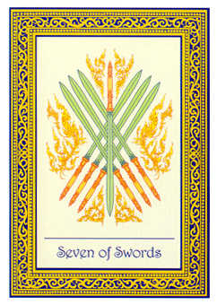 Seven of Bats Tarot Card - Royal Thai Tarot Deck