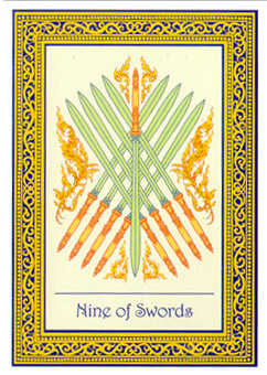 Nine of Arrows Tarot Card - Royal Thai Tarot Deck