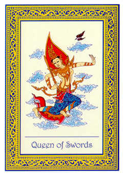 Queen of Swords Tarot Card - Royal Thai Tarot Deck