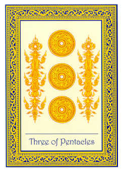 Three of Coins Tarot Card - Royal Thai Tarot Deck