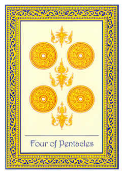 Four of Coins Tarot Card - Royal Thai Tarot Deck