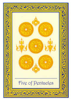 Five of Coins Tarot Card - Royal Thai Tarot Deck