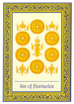 Six of Pentacles Tarot Card - Royal Thai Tarot Deck