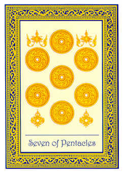 Seven of Pentacles Tarot Card - Royal Thai Tarot Deck