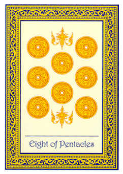Eight of Coins Tarot Card - Royal Thai Tarot Deck