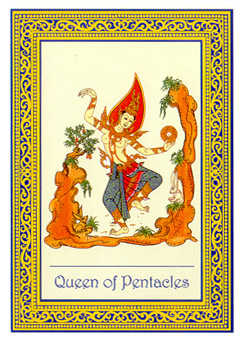 Queen of Coins Tarot Card - Royal Thai Tarot Deck