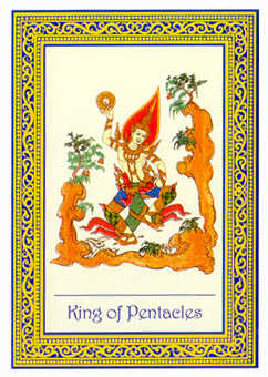 King of Pentacles Tarot Card - Royal Thai Tarot Deck