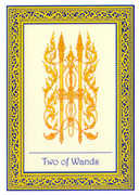 Two of Wands Tarot card in Royal Thai deck