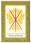 Three of Wands Tarot card in Royal Thai Tarot deck