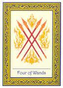 Four of Wands Tarot card in Royal Thai deck