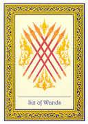 Six of Wands Tarot card in Royal Thai deck