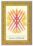 Seven of Wands Tarot card in Royal Thai deck