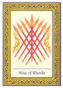 Nine of Wands Tarot card in Royal Thai deck