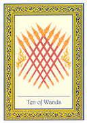 Ten of Wands Tarot card in Royal Thai deck