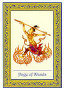 Page of Wands Tarot card in Royal Thai deck