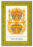 Two of Cups Tarot card in Royal Thai deck