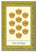 Ten of Cups Tarot card in Royal Thai deck