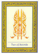 Two of Swords Tarot card in Royal Thai deck
