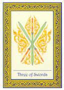 Three of Swords Tarot card in Royal Thai deck