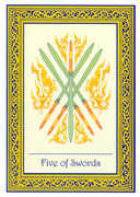 Five of Swords Tarot card in Royal Thai deck