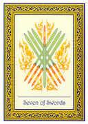 Seven of Swords Tarot card in Royal Thai deck
