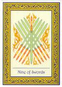 Nine of Swords Tarot card in Royal Thai deck