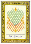 Ten of Swords Tarot card in Royal Thai deck