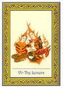 The Lovers Tarot card in Royal Thai deck