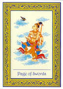 Page of Swords Tarot card in Royal Thai deck