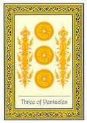 Three of Coins Tarot card in Royal Thai deck