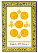 Five of Coins Tarot card in Royal Thai Tarot deck