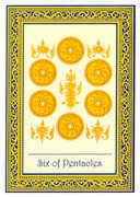 Six of Coins Tarot card in Royal Thai deck