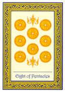 Eight of Coins Tarot card in Royal Thai deck