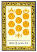 Nine of Coins Tarot card in Royal Thai deck