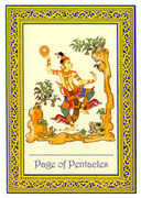 Page of Coins Tarot card in Royal Thai deck