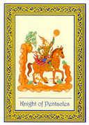 Knight of Coins Tarot card in Royal Thai deck