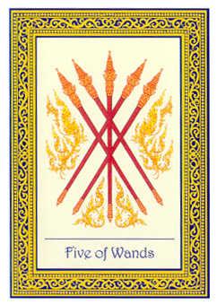 Five of Wands Tarot Card - Royal Thai Tarot Deck