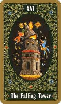 The Falling Tower Tarot Card - Russian Tarot Deck