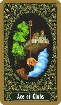 Ace of Batons Tarot Card - Russian Tarot Deck