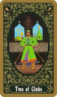 Two of Clubs Tarot Card - Russian Tarot Deck