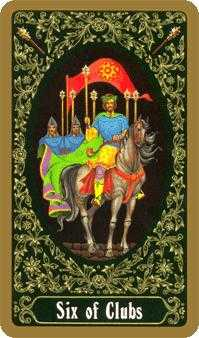 Six of Rods Tarot Card - Russian Tarot Deck