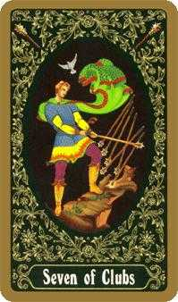 Seven of Rods Tarot Card - Russian Tarot Deck