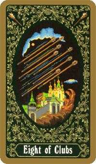 Eight of Sceptres Tarot Card - Russian Tarot Deck