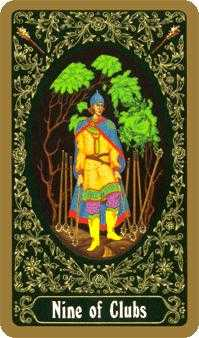 Nine of Batons Tarot Card - Russian Tarot Deck