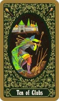 Ten of Staves Tarot Card - Russian Tarot Deck
