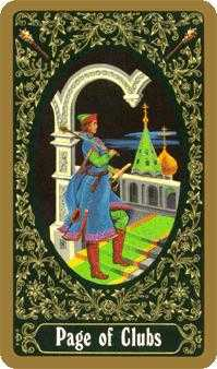 Page of Clubs Tarot Card - Russian Tarot Deck