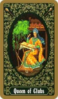 Queen of Clubs Tarot Card - Russian Tarot Deck